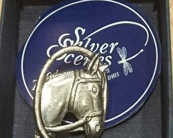 Silver scenes horse brooch