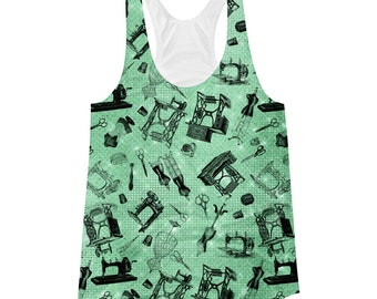 All Over Vintage Sewing Machines Hand Crank Treadle Notions on Green Misses' Women's Racerback Tank Top XS S M L XL 2XL