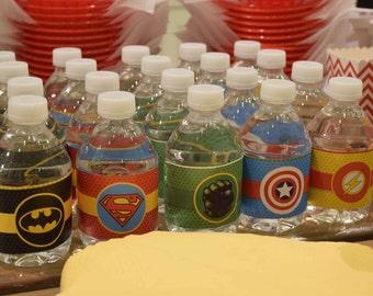 Superhero party theme water bottles labels