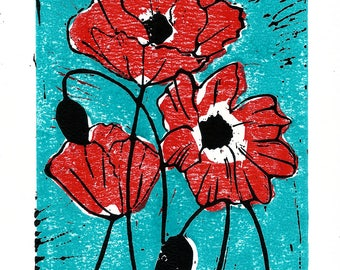 Red Poppies | Linoprint | Handprinted | Aquamarine | Poppy art print | Poppy flowers | Gift for Her | Mothers Day | Floral art print
