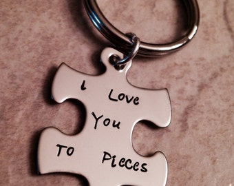 I love you to pieces puzzle piece keychain hand stamped and personalized