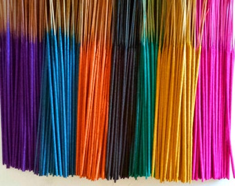 Incense - Hand Dipped - You Choose Color/Scent Combination - Free U.S. Shipping - 50 per Pack - Includes Holder