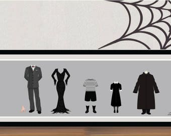 The Addams Family Panoramic Poster/Print - minimalist addams family gomez morticia halloween wednesday thing hand poster art decor