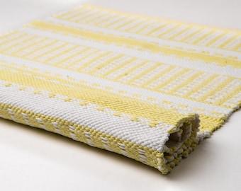 Lemon and white rug, throw rug, small rug, runner rug, cotton rug, modern rag rug, washable rug, Swedish rug, nursery rug, READY TO SHIP
