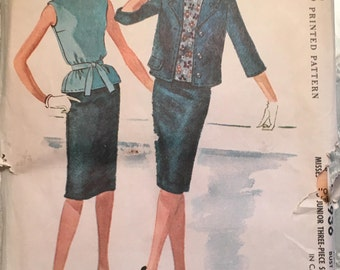 1960's Misses Blouse, Skirt and Jacket Pattern - Bust 34 -  McCalls 5936