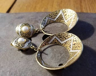 Gorgeous vintage brass and faux pearl scrolled Damascene hoop clip earrings