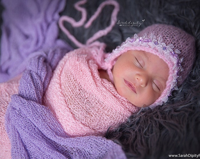 Pink Mohair Newborn Bonnet with Organza Bow and Trim & sequin flowers, photo shoots, photographers, Lil Miss Sweet Pe