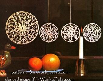 Vintage Snowflake Crochet window decoration mandala Pattern PDF WZ 256 from WonkyZebra