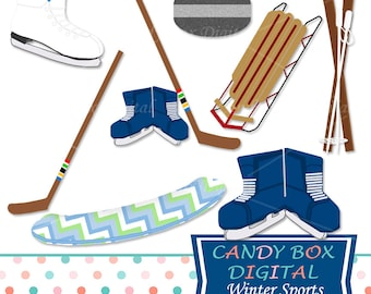 Winter Sports Clipart, Snowboard, Skiing, Curling, Ice Skating, Sledding Clip Art - Commercial Use OK
