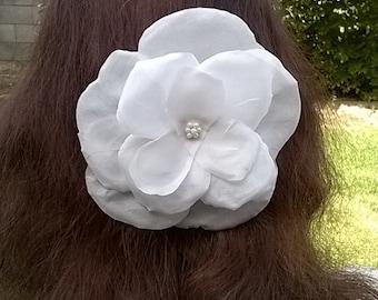 White Silk Flower Comb - Handcrafted Silk Wild Rose - Bridal, Bridesmaid, Wedding Hair Accessory