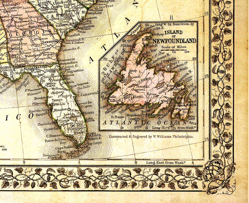 United States Map, Vintage Map, Canvas Large Map, Wall Art
