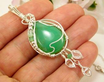 Natural Green Chrysoprase Pendant - Peruvian Opal Jewelry - Green Jewelry - Peruvian Opal - Herkimer Diamond + Chrysoprase - Sterling Silver