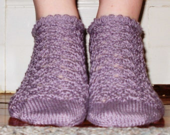CUSTOM: Handknit Ankle Socks, Lacy with Picot Cuff