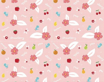 Sweet Orchard Fruit Pink yardage by Down Grapevine Lane for Riley Blake