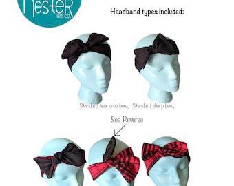 Quail Headband PDF Sewing Pattern and Tutorial knotted bow headband pattern pdf pattern pdf tutorial headband tutorial how to diy