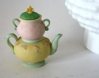 Porcelain Mini Pastel Teapot Keepsake Cremation Urn