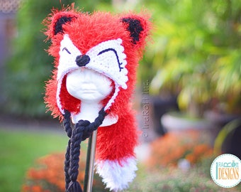 Red Furry Fox Hat with Detachable Tail READY to SHIP Handmade Crochet Hat for Preschool Size