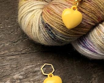 Enamel Yellow Puff Heart Stitch Marker / Progress Keeper