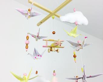 Baby mobile Origami plane vintage wood
