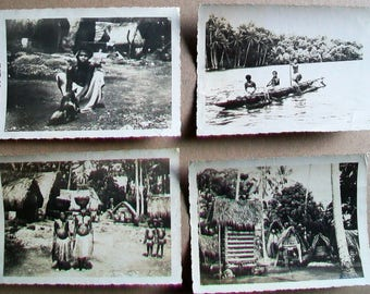 Lot of 4 Original Photos WWII Biak Island Natives, Papua New Guinea 1944