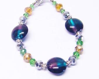 Multicolor Foil Lined Disc Glass Beaded Bracelet