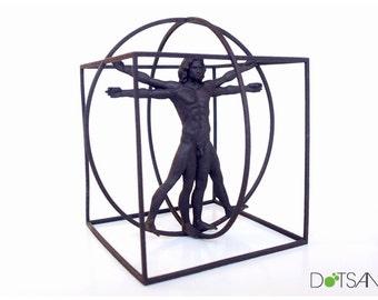 3D Printed Black Vitruvian Man