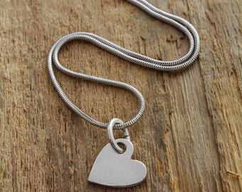 Silver Heart Pendant - Silver Heart Necklace - Silver Heart Charm - Heart Charm Necklace - Heart Charm Pendant - Sterling Silver Necklace