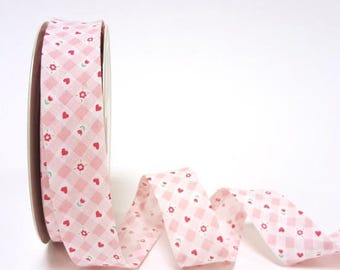Pink Gingham with Red Hearts and Flowers Floral Bias Binding Tape 100% Cotton Tape 25mm Fantasia Pastel Pink