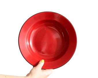 Red enamel plates, set of 3