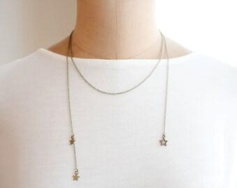 twinkle - Star Necklace, Open Necklace, Lariat Back Necklace, Antique Bronze