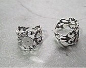 Silver metal filigree ring finding