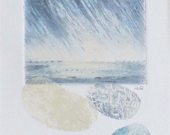 Original mixed media and collage rain over the ocean with pebbles