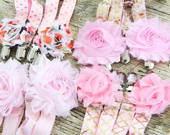 PINK GARTERS for Thigh High Stockings - Crocodile clips - Pretty shabby chic flowers - Romantic Goth - Sock Suspenders - Wedding - Boho