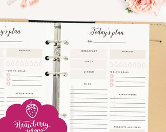 "Daily planner inserts: ""TODAY'S PLAN"" Daily schedule 