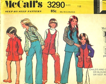 Girls, Dress Blouse Jumper Vest Pants, L, McCalls 3290, Mini, Front Zipper, Collar, Scoop Neck, Elastic Waist, 1972 Uncut, Size 12