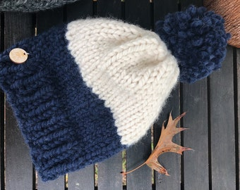 The Burra - Chunky Knit Child Size Beanie (Navy/cream)