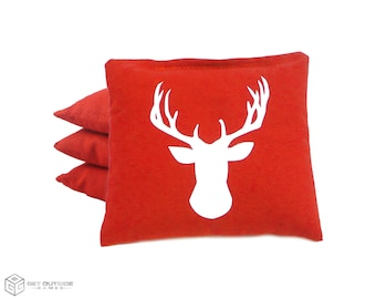 4 Deer Classic Series Cornhole Bags   Corn or All Weather with Color Options