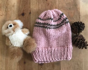 Hand Knit Soft Slouchy  Beanie Toque Pink & Brown