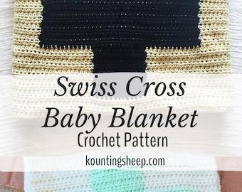 Swiss Cross Baby Blanket PDF Crochet Pattern Digital Download Only