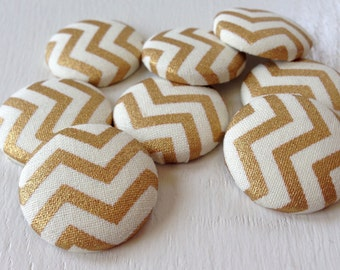 Magnets,Fabric Magnets,Gold Magnets,Chevron Magnets,Gold Chevron,Coworker Gift,Teacher Gift,Home Decor,House Warming Gift,Cubicle Decor
