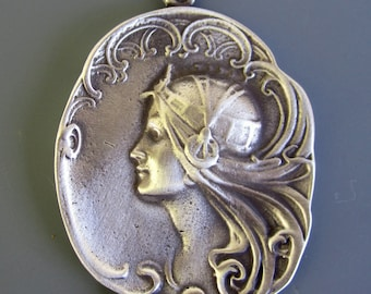 Art Nouveau Cameo Pewter Necklace