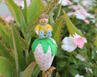 Little Pixie playing with strawberry, Plush Fabric Strawberry with Felt Art Dolls