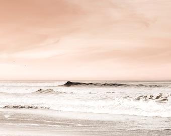 Peach and Gray Wall Art, Beach Photography, Beach Sunrise, Large Seascape, Ethereal Print, Landscape Photography, Peach Bathroom Wall Decor