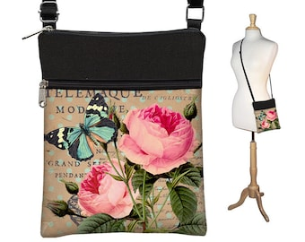 Shabby Rose Small Crossbody Hipster Bag ,Cross Body Shoulder Bag,  eReader Case Cover, Pink Cottage Floral, Blue Butterfly RTS