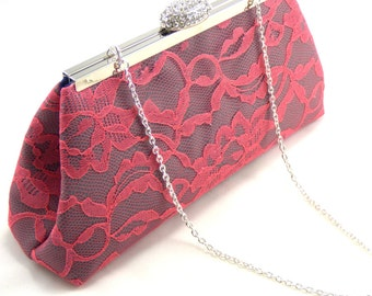 Steel Grey, Coral Lace and Navy Blue Bridesmaid Clutch, Bridesmaid Gift, Custom Bridal Clutch, Wedding Clutch, Mother of the Bride Gift