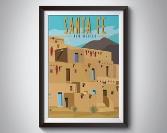 Santa Fe   New Mexico   Travel Poster   Instant Download