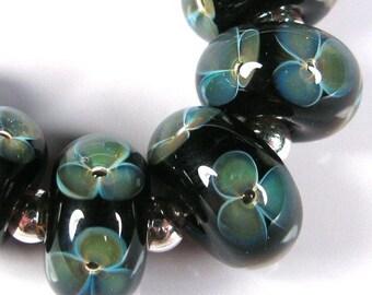 Lampwork Boro Beads, Glass Beads, Lampwork Beads, BBGLASSART - Midnight Bloom