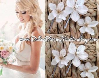 White hair flower Bridal Hair clips white Hair Pins,wedding hair clip, ivory flower clip, bridal hair clip, floral hair clip,ivory hair clip
