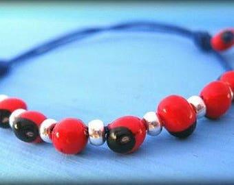 mothers day jewelry gift hippie style bracelet huayruro bracelet silver beads tiny bracelet evil eye protector minimalist spiritual jewelry