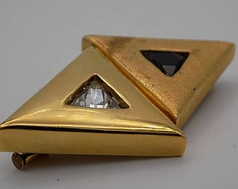 COURRÈGES Vintage brooch, gold plated, formed by two triangle, and two crystals, Made in France, authentic, collectible, Vintage Paris,